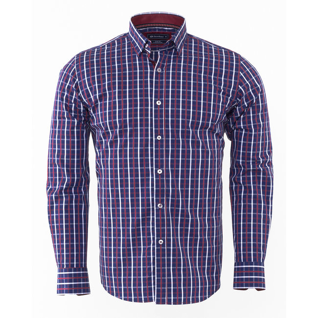 Oscar Banks Oscar Banks Checkhered Classical Long Sleeved Shirt SL 5844 COLOR H S