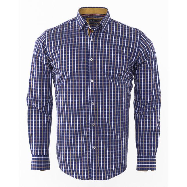 Oscar Banks Oscar Banks Checkhered Classical Long Sleeved Shirt SL 5844 COLOR J S