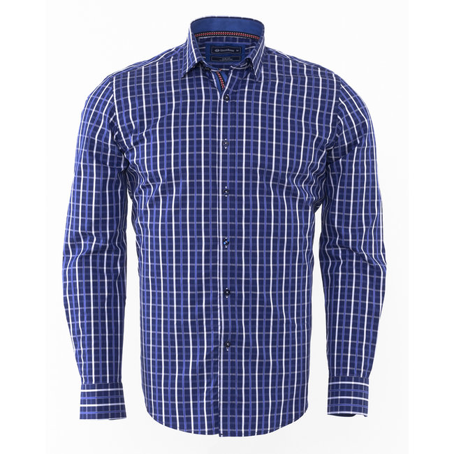Oscar Banks Oscar Banks Checkhered Classical Long Sleeved Shirt SL 5844 COLOR K S