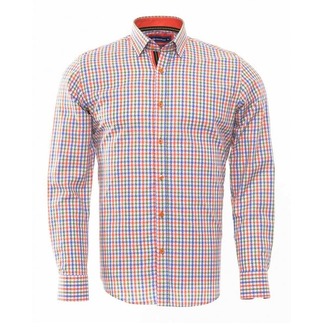 Oscar Banks Multicolor Checkhered Classical Long Sleeved Shirt SL 5851 COLOR G S
