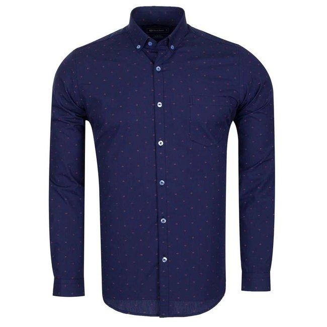 Oscar Banks Oscar Banks Polka Dot Printed Long Sleeved Shirt SL 5912 COLOR B S