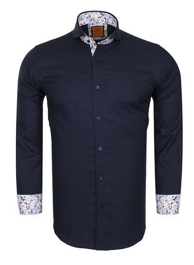 Makrom Cutaway Plain Long Sleeved Shirt with Inside Details SL 5953 DARK BLUE S