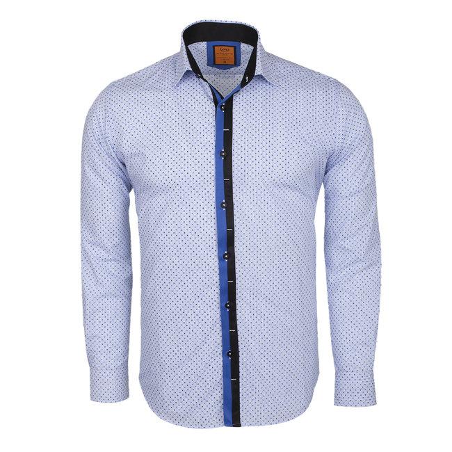 Polka Dot Printed Long Sleeved Shirt SL 5970 LIGHT BLUE S