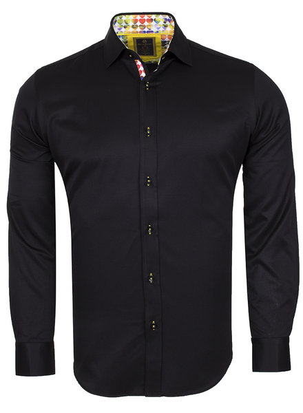 Oscar Banks Plain Long Sleeved Shirt with Inside Details SL 6091 BLACK L