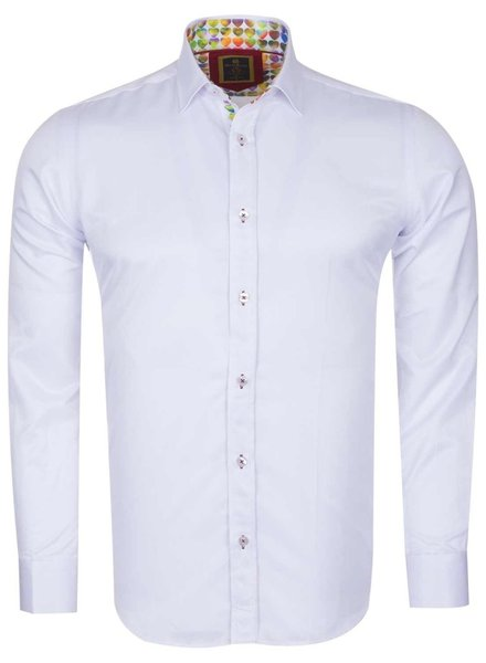 Oscar Banks Plain Long Sleeved Shirt with Inside Details SL 6091 WHITE L