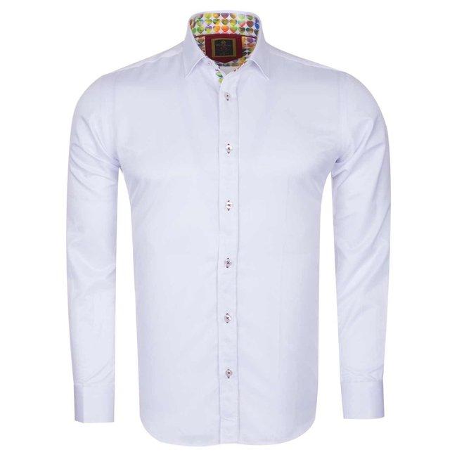 Oscar Banks Plain Long Sleeved Shirt with Inside Details SL 6091 WHITE L