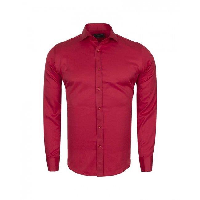 Plain Double Cuff Long Sleeve Men Shirt SL 6111 RED L