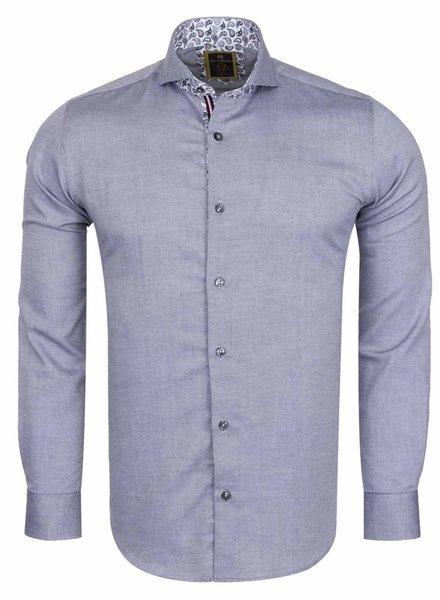 Oscar Banks Cutaway Collar Plain Long Sleeved Shirt with Inside Details SL 6113 BLACK S