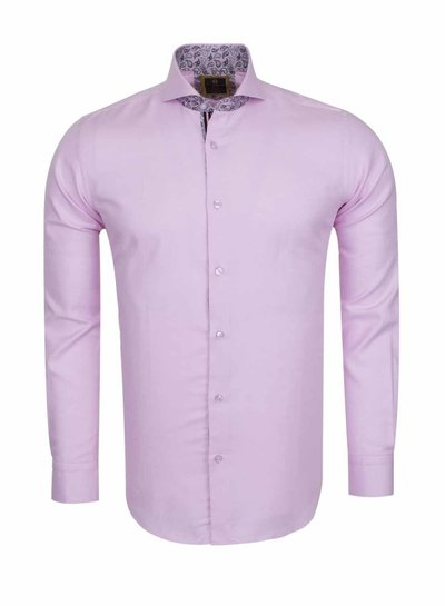 Oscar Banks Cutaway Collar Plain Long Sleeved Shirt with Inside Details SL 6113 PINK L