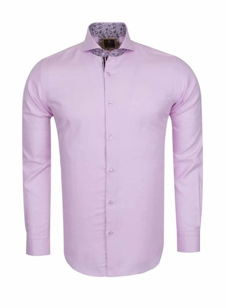 Oscar Banks Cutaway Collar Plain Long Sleeved Shirt with Inside Details SL 6113 PINK L