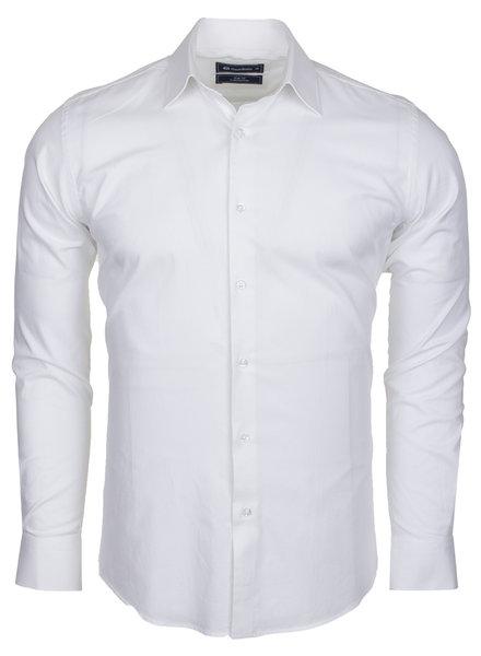 Oscar Banks Totally Cotton Plain Double Cuff Long Sleeve Men Shirt SL 6197 WHITE L