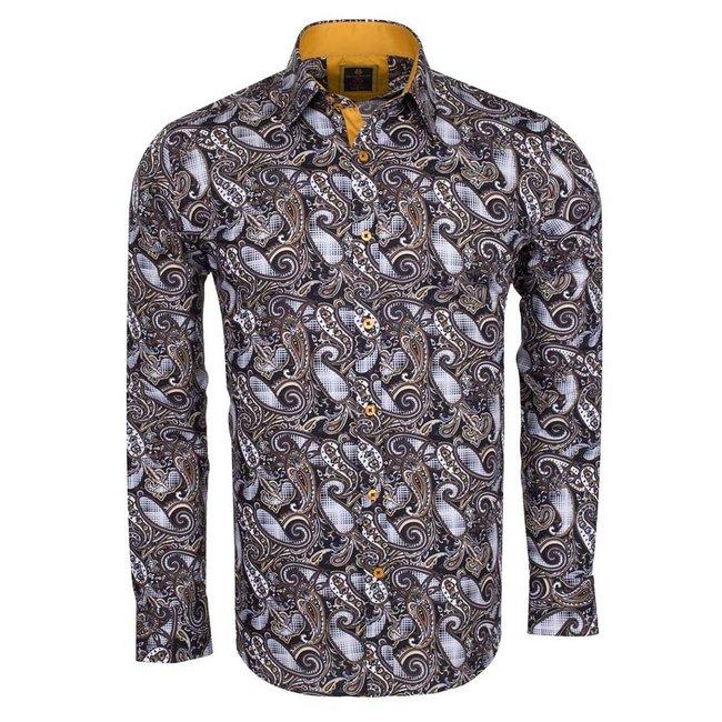 Oscar Banks Paisley Printed Long Sleeved Shirt SL 6216 COLOR E M