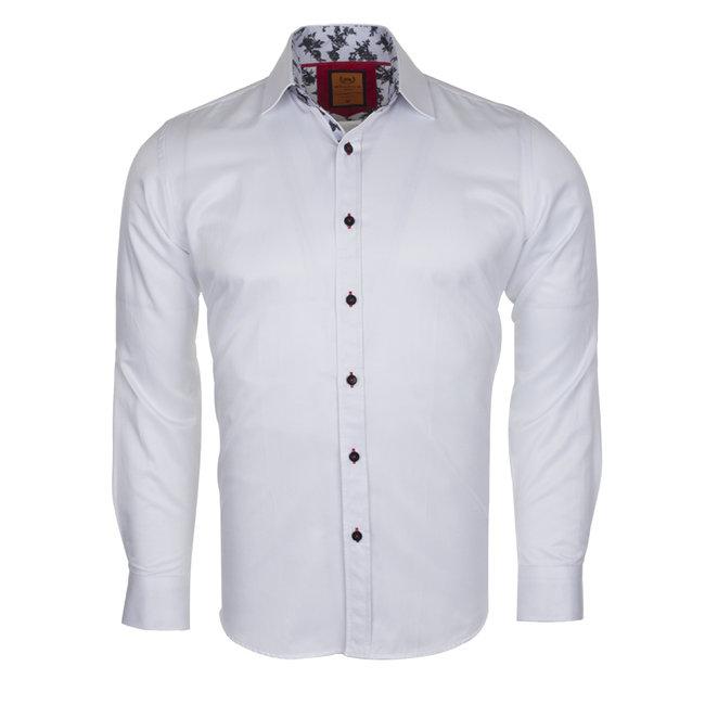 Plain Long Sleeved Shirt with Inside Details SL 6283 WHITE 03 M