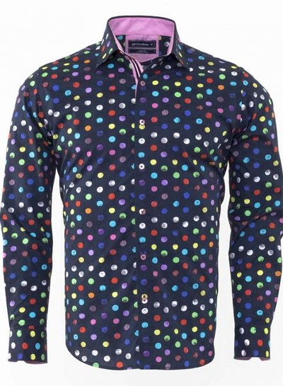 Oscar Banks Contrast Polka Dot Printed Long Sleeved Shirt SL 6302 COLOR G M