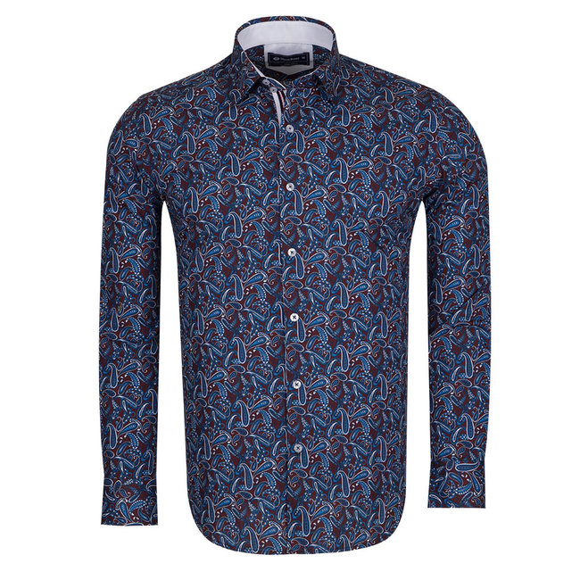 Oscar Banks Paisley Printed Long Sleeved Shirt SL 6305 COLOR K M