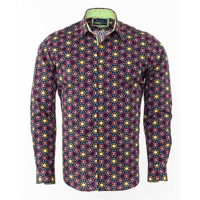 Oscar Banks Printed Long Sleeved Shirt SL 6309 COLOR P M