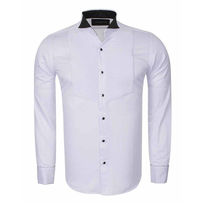 Wing Collar Plain Long Sleeved Shirt SL 6328 BLACK L
