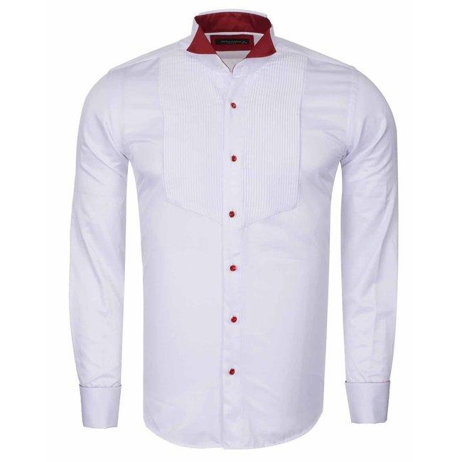 Wing Collar Plain Long Sleeved Shirt SL 6328 RED 3XL
