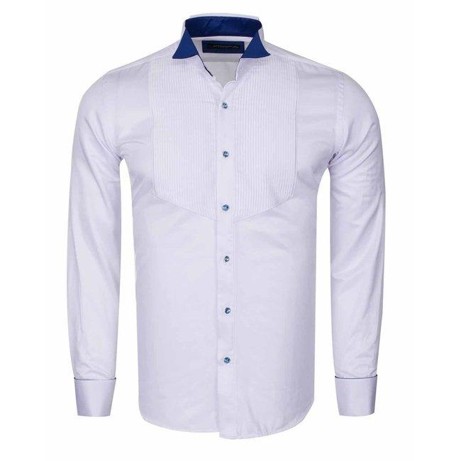 Wing Collar Plain Long Sleeved Shirt SL 6328 SAX 3XL