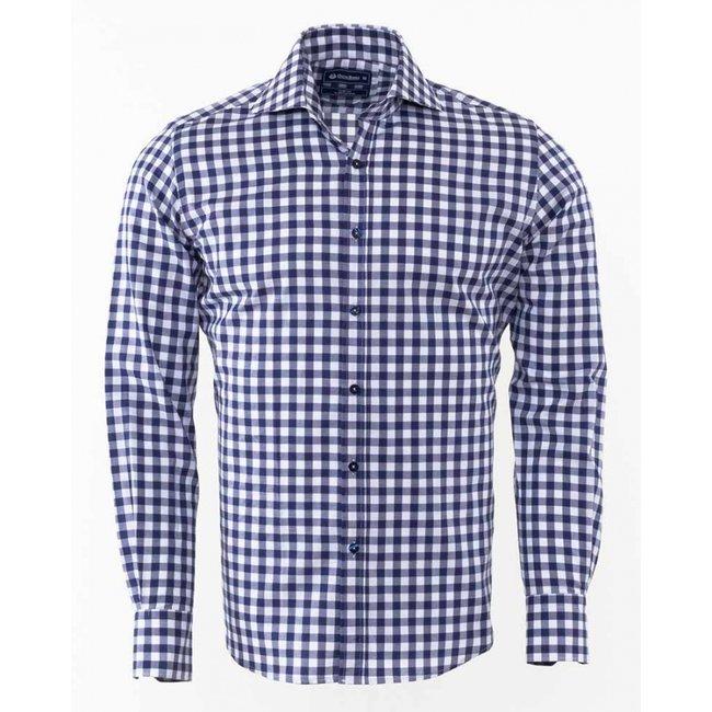 Oscar Banks Oscar Banks Checkhered Classical Long Sleeved Shirt SL 5949 DARK BLUE S