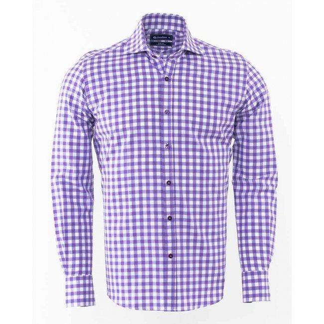 Oscar Banks Oscar Banks Checkhered Classical Long Sleeved Shirt SL 5949 LILAC S