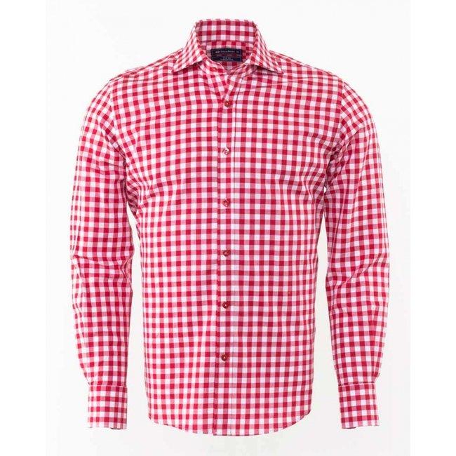 Oscar Banks Oscar Banks Checkhered Classical Long Sleeved Shirt SL 5949 RED S