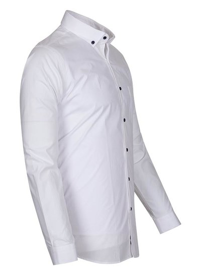 Oscar Banks Cotton Plain Long Sleeved Shirt SL 6351 WHITE 3XL