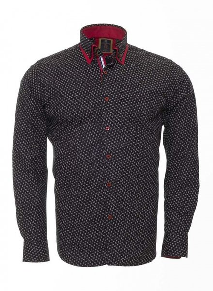Oscar Banks Double Collar Polka Dot Printed Long Sleeved Shirt SL 6391 BLACK 4XL