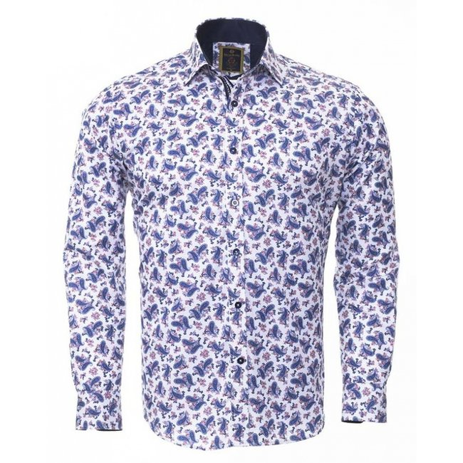 Oscar Banks Paisley Printed Long Sleeved Shirt SL 6406 DBLUE M