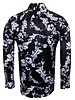 Oscar Banks Floral Printed Long Sleeved Satin Shirt SL 6425 BLACK L