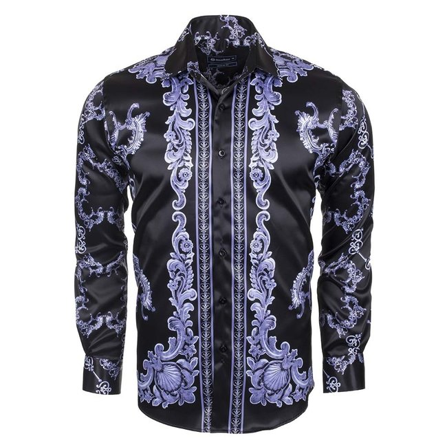 Oscar Banks Premium Printed Long Sleeved Satin Shirt SL 6428 BLACK -1 XXL