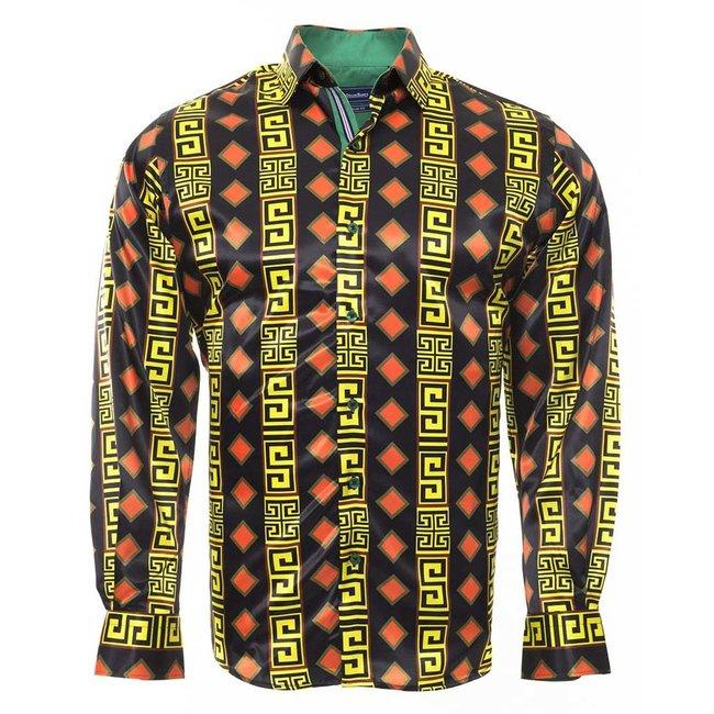 Oscar Banks Luxury Printed Long Sleeved Satin Shirt SL 6434 YELLOW M