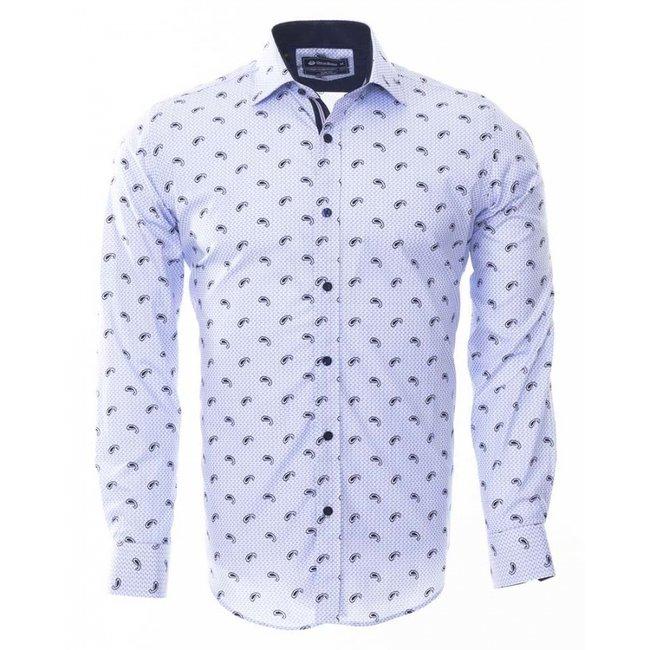 Oscar Banks Paisley Printed Long Sleeved Shirt SL 6452 BLUE M