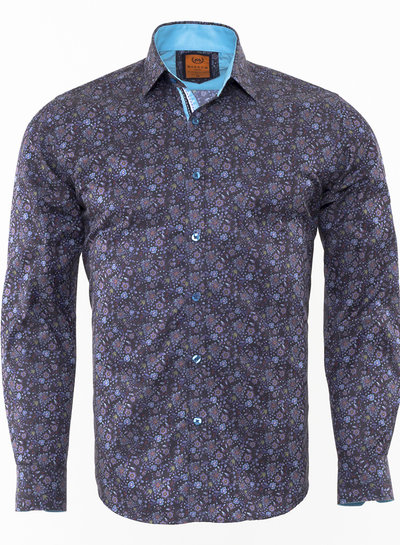 Dark Floral Printed Long Sleeved Shirt SL 6470 TURQUOİSE M