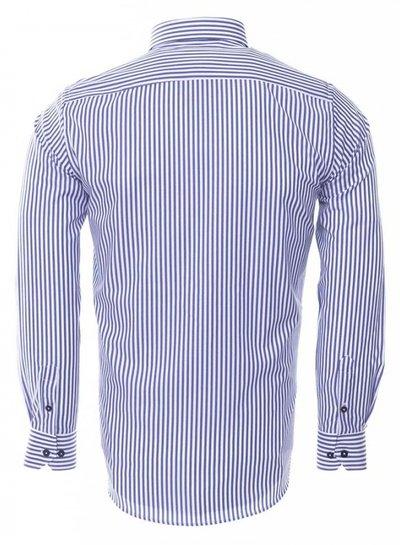 Button Down Collar Striped Long Sleeved Shirt SL 6480 NAVY 3XL