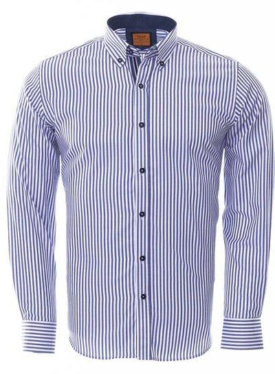 Makrom Button Down Collar Striped Long Sleeved Shirt SL 6480 NAVY 3XL