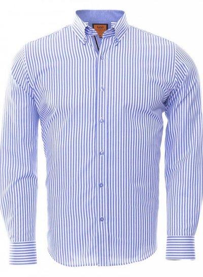 Makrom Button Down Collar Striped Long Sleeved Shirt SL 6480 BLUE M