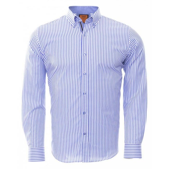 Button Down Collar Striped Long Sleeved Shirt SL 6480 BLUE M