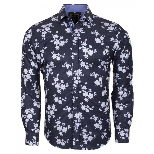 Oscar Banks Printed Long Sleeved Shirt SL 6236 DARK BLUE M