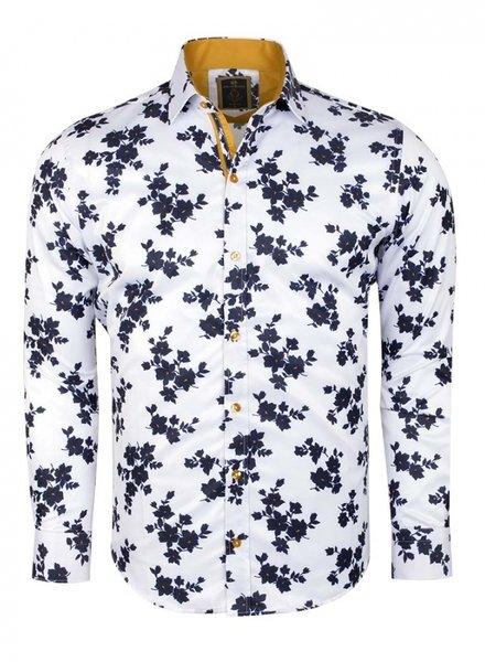 Oscar Banks Printed Long Sleeved Shirt SL 6236 WHITE L