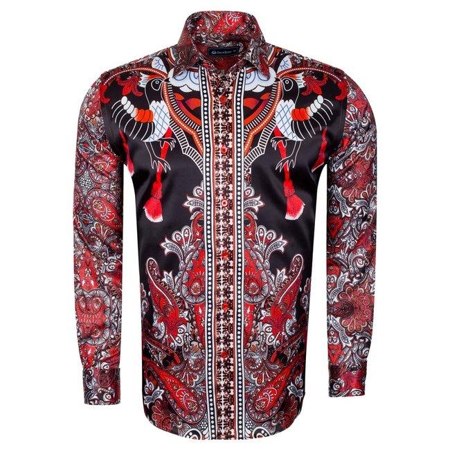 Oscar Banks Special Pattern Printed Long Sleeved Satin Shirt SL 6431 RED M