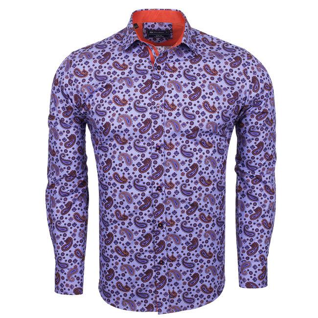 Oscar Banks Paisley Printed Long Sleeved Shirt SL 6527 LILAC S