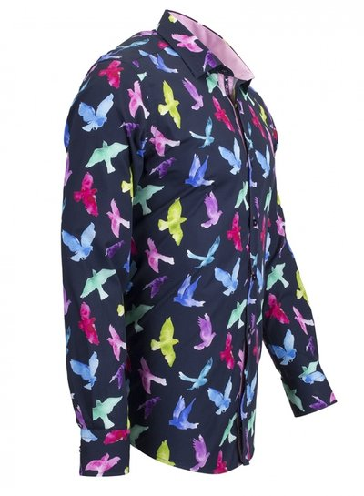 Oscar Banks Birds Printed Long Sleeved Shirt SL 6536 DARK BLUE M