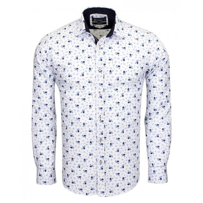 Oscar Banks Printed Long Sleeved Shirt SL 6539 WHITE S