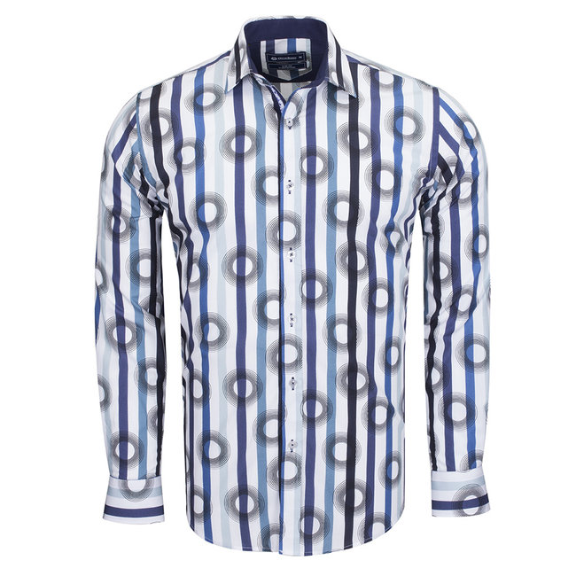 Oscar Banks Oscar Banks Cotton Striped Long Sleeved Shirt SL 6543 WHITE 3XL