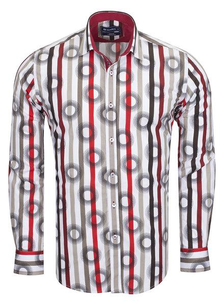 Oscar Banks Oscar Banks Cotton Striped Long Sleeved Shirt SL 6543 BURGUNDY S