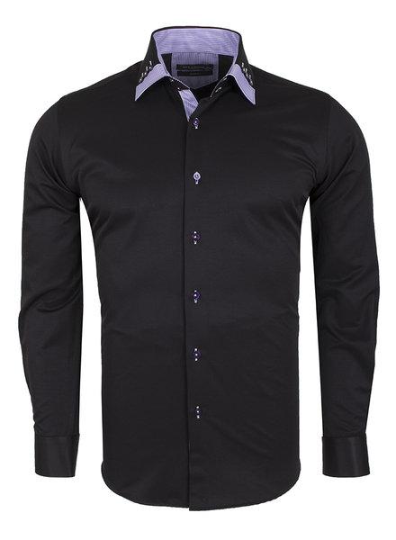 Makrom Plain Long Sleeved Shirt with Inside Details SL 6440 BLACK S