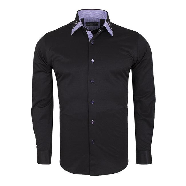 Plain Long Sleeved Shirt with Inside Details SL 6440 BLACK S