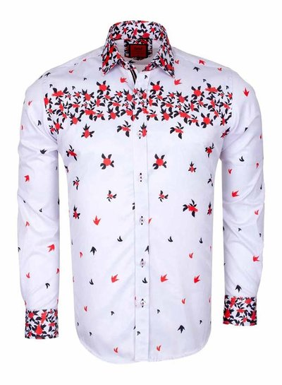 Flower Printed Solid Long Sleeved Shirt SL 6519 RED 3XL