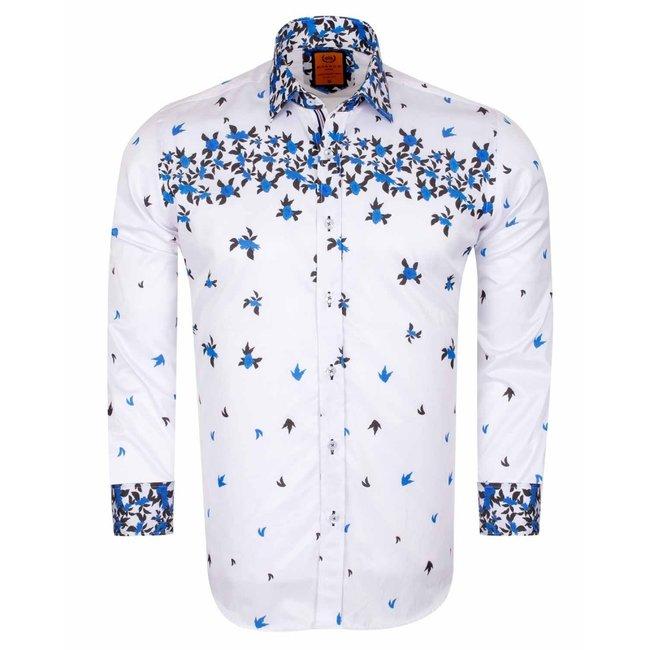Flower Printed Solid Long Sleeved Shirt SL 6519 BLUE M